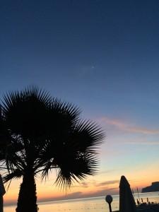 Venus und Jupiter am Morgenhimmel unter Palmen