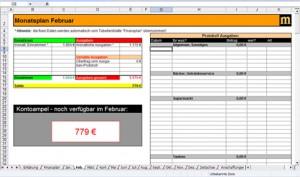 """Haushaltsbuch XLS in Excel: automatische Summenbildung, automatische """"Vollkosten""""-Planung, Kostentransparenz, Einnahmen/Ausgaben auf einen Klick im Überblick."""