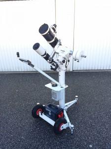 SkyWatcher Stativsäule modifiziert mit Lufträdern und Lenkstange