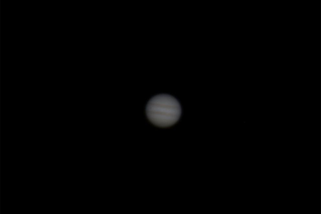 """Jupiter mit DSLR und Barlow am 12""""-Dobson fotografiert. Visueller Seheindruck ca. 170-fache Vergrößerung"""