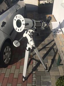 SkyWatcher ED 80 mit Sonnenfolie als Sonnenteleskop