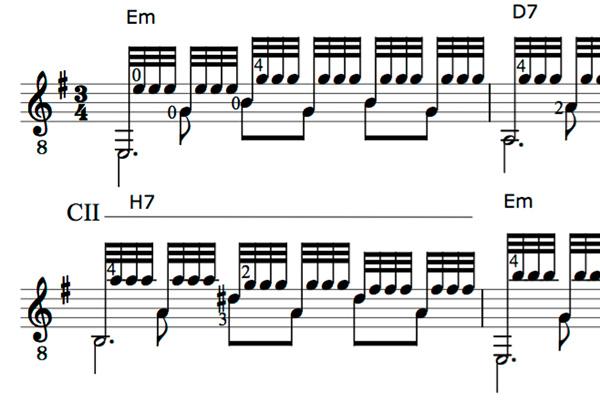 Typische Gitarren-Tremolo-Notation