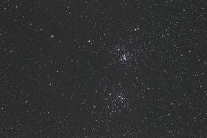 Persei-Sternhaufen, Aufnahme unbearbeitet, 6 min. Belichtung ohne Guider