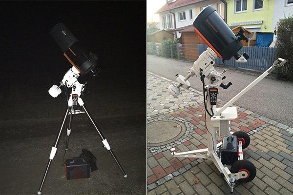 Mondkanone Celestron C8 auf dem Feld(stativ) und auf Rädern